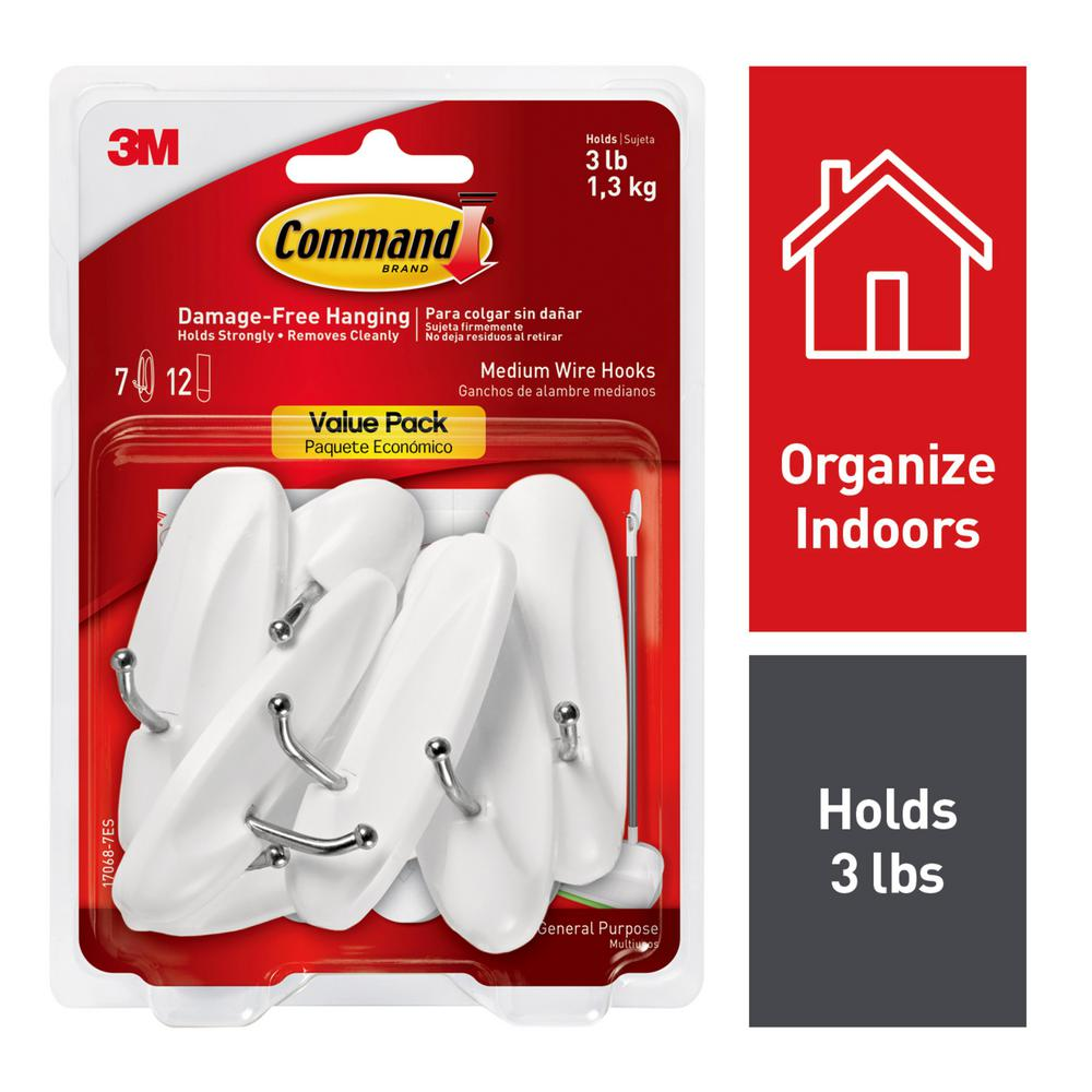 3M Medium White Wire Hooks Value Pack (7-Hooks) with 12-Adhesive Strips