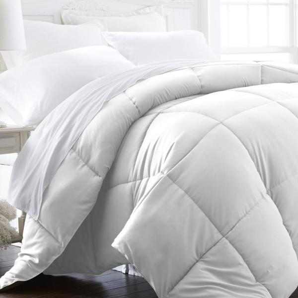 Performance White Solid Queen Comforter