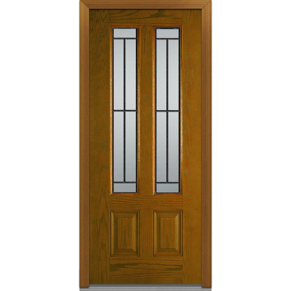 Mmi door 36 in x 80 in madison right hand 2 3 4 lite 2 panel classic stained fiberglass oak for 36 x 80 fiberglass exterior door