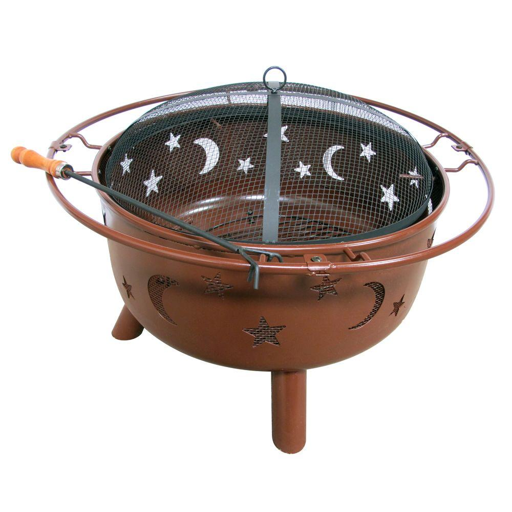 Fireside Escapes Stars and Moon Rusty Brown Steel Fire Pit-DISCONTINUED