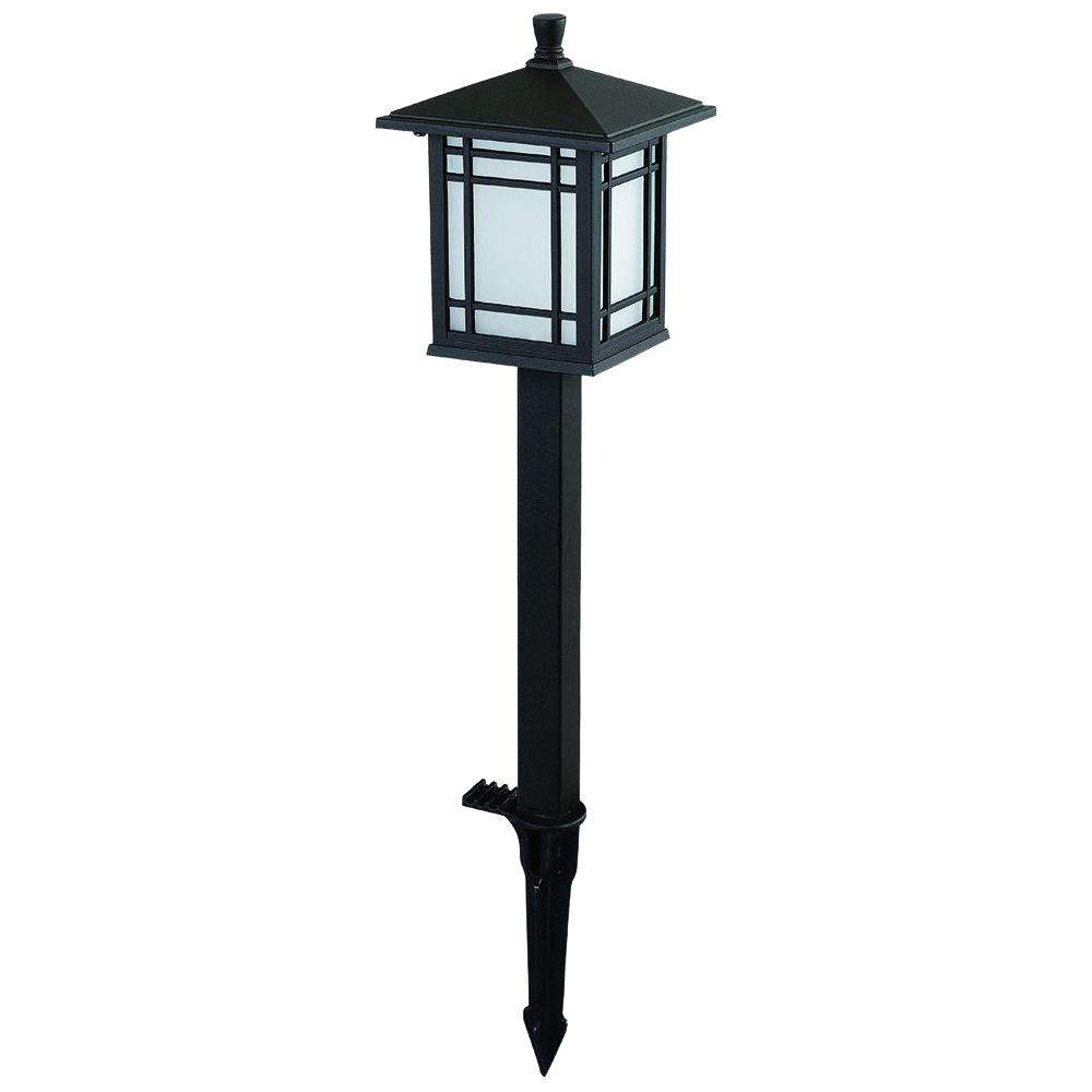 Hampton Bay Low Voltage Bronze Outdoor Integrated Led Mission Style Landscape Path Light With Frosted Gl Lens