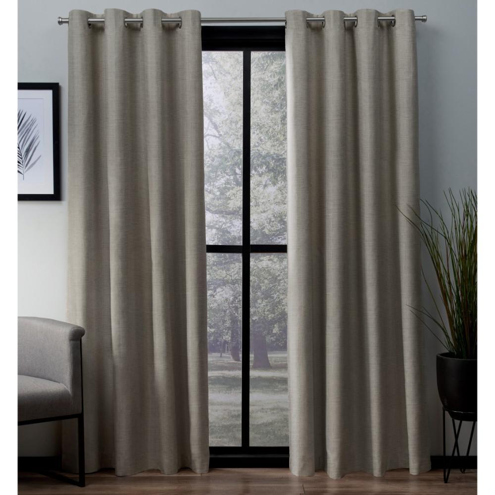 London 52 in. W x 63 in. L Woven Blackout Grommet Top Curtain Panel in Beige (2 Panels)