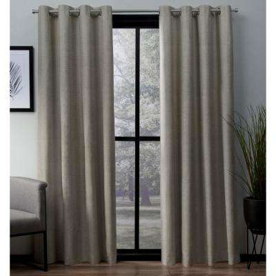 London 52 in. W x 63 in. L Woven Blackout Grommet Top Curtain Panel in Beige (2 Panels)