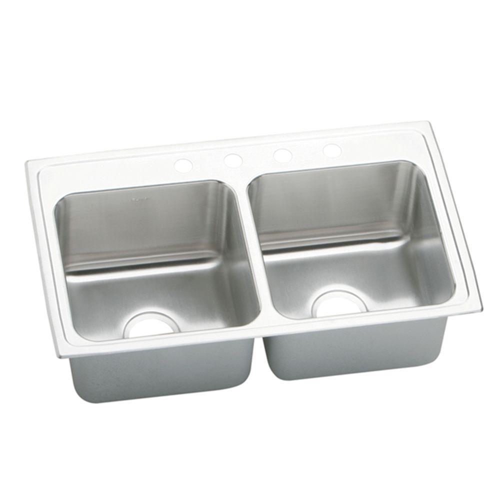 Elkay Lustertone Drop-In Stainless Steel 33 in. 4-Hole Double Bowl Kitchen Sink