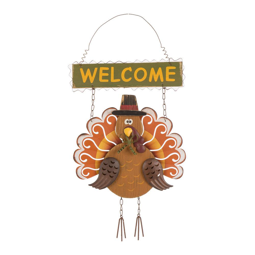 Glitzhome 17.91 in. H Iron/Wooden Turkey Welcome Wall Decor