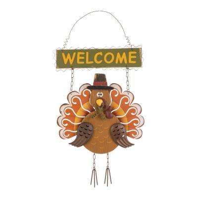 17.91 in. H Iron/Wooden Turkey Welcome Wall Decor