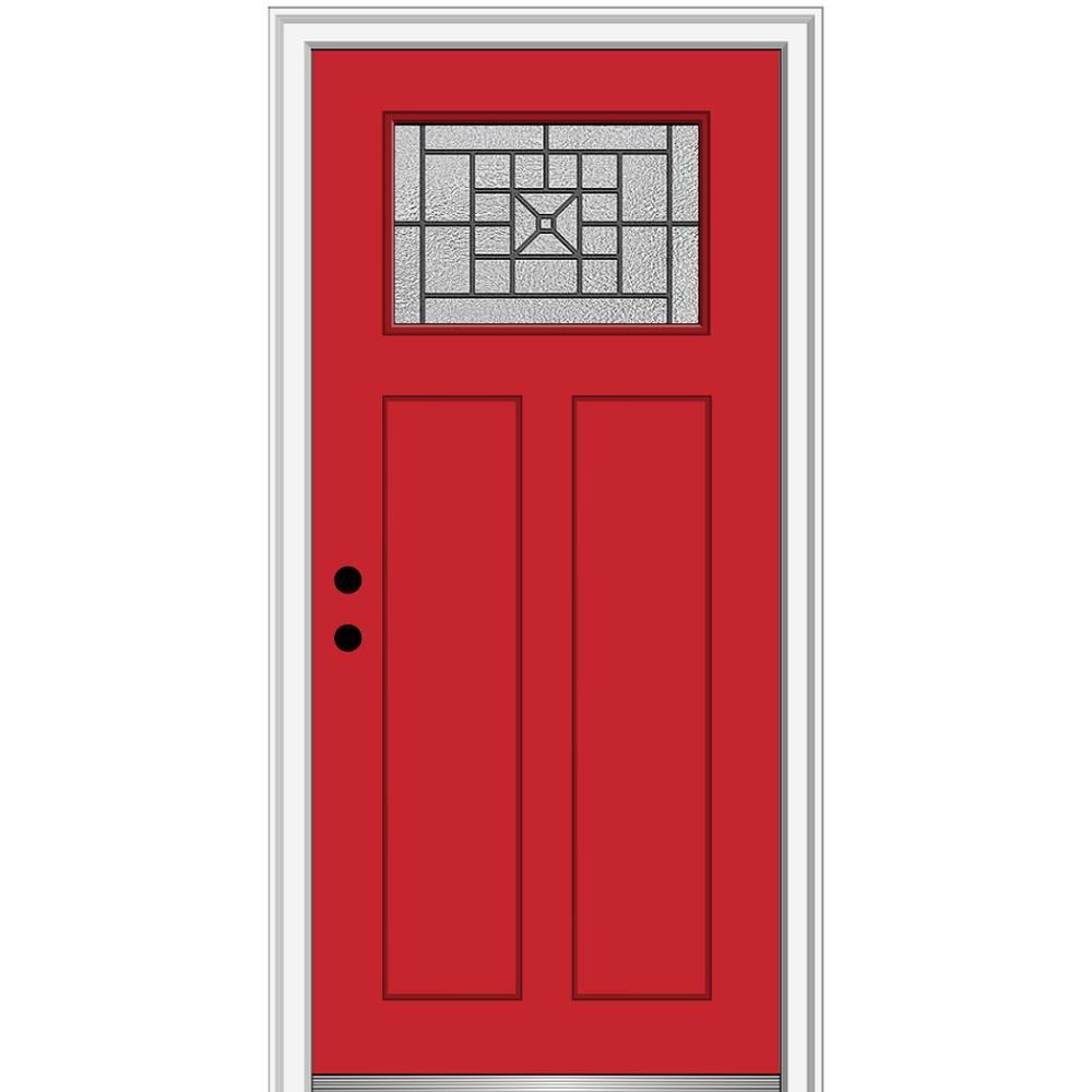 MMI Door 32 in. x 80 in. Courtyard Right-Hand 1-Lite Decorative Craftsman Painted Fiberglass Prehung Front Door, 6-9/16 in. Frame, Red Saffron/ was $1527.99 now $994.0 (35.0% off)
