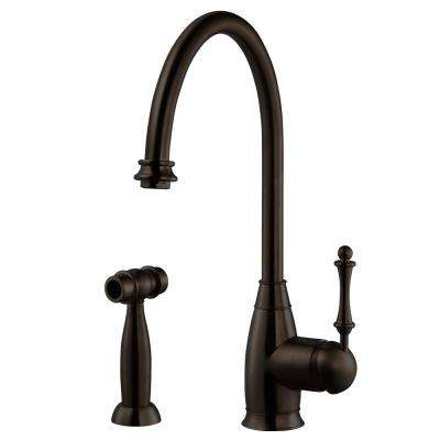 Charlotte Traditional Single-Handle Standard Kitchen Faucet with Sidespray and CeraDox Technology in Oil Rubbed Bronze