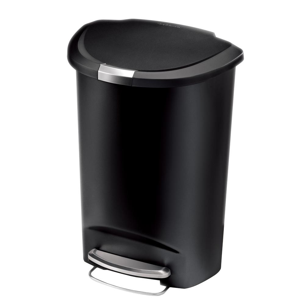 simplehuman 50 liter semi round black plastic step on trash can cw1355 the home depot. Black Bedroom Furniture Sets. Home Design Ideas