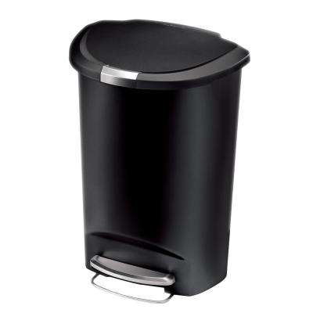 50-Liter Semi-Round Black Plastic Step-On Trash Can