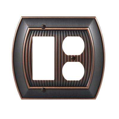 Sea Grass 1 Rocker and 1-Duplex Outlet Combination Wall Plate, Oil-Rubbed Bronze