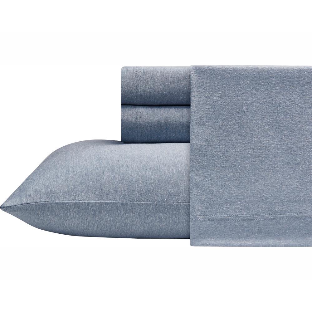 Heather Jersey 4-Piece Blue Solid King Sheet Set