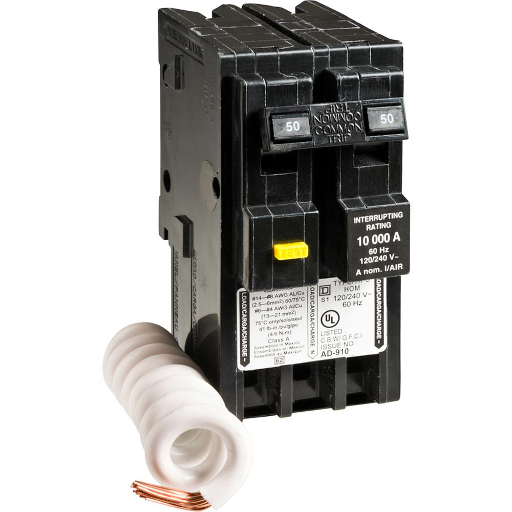 Square D Homeline    50       Amp    2Pole GFCI    Circuit       Breaker