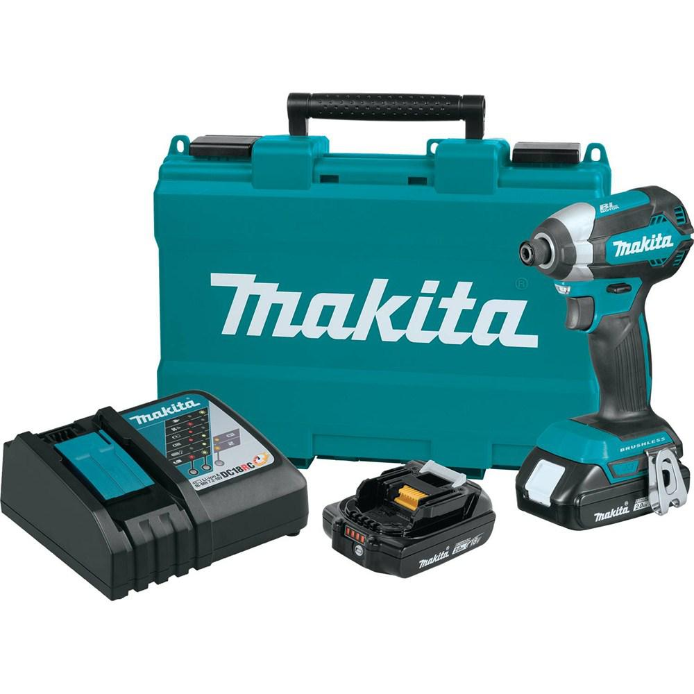 Makita 18-Volt LXT Lithium-Ion Compact Brushless 1/4 in. Cordless Impact Driver Kit with (2) Batteries 2.0Ah Charger Case