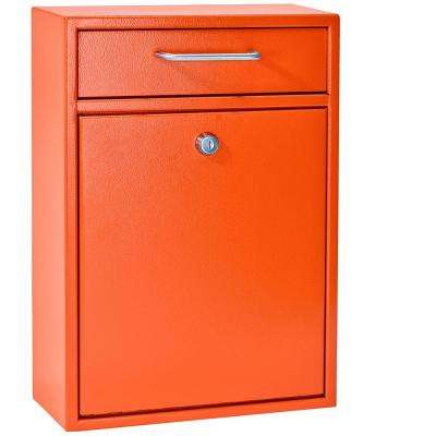 Olympus Locking Wall-Mount Drop Box With High Security Patented Lock, Bright Orange
