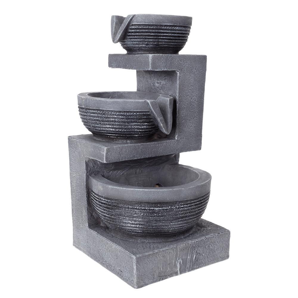 3 Tier LED Cascading Basin Table Fountain