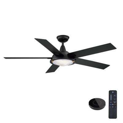 Merienda 56 in. LED Matte Black Ceiling Fan with Light and Remote Control works with Google and Alexa