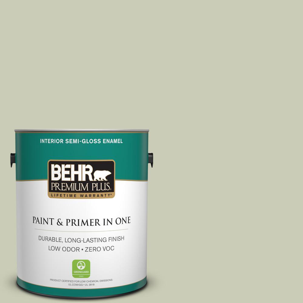 BEHR Premium Plus 1-gal. #BIC-13 Chilled Cucumber Semi-Gloss Enamel Interior Paint