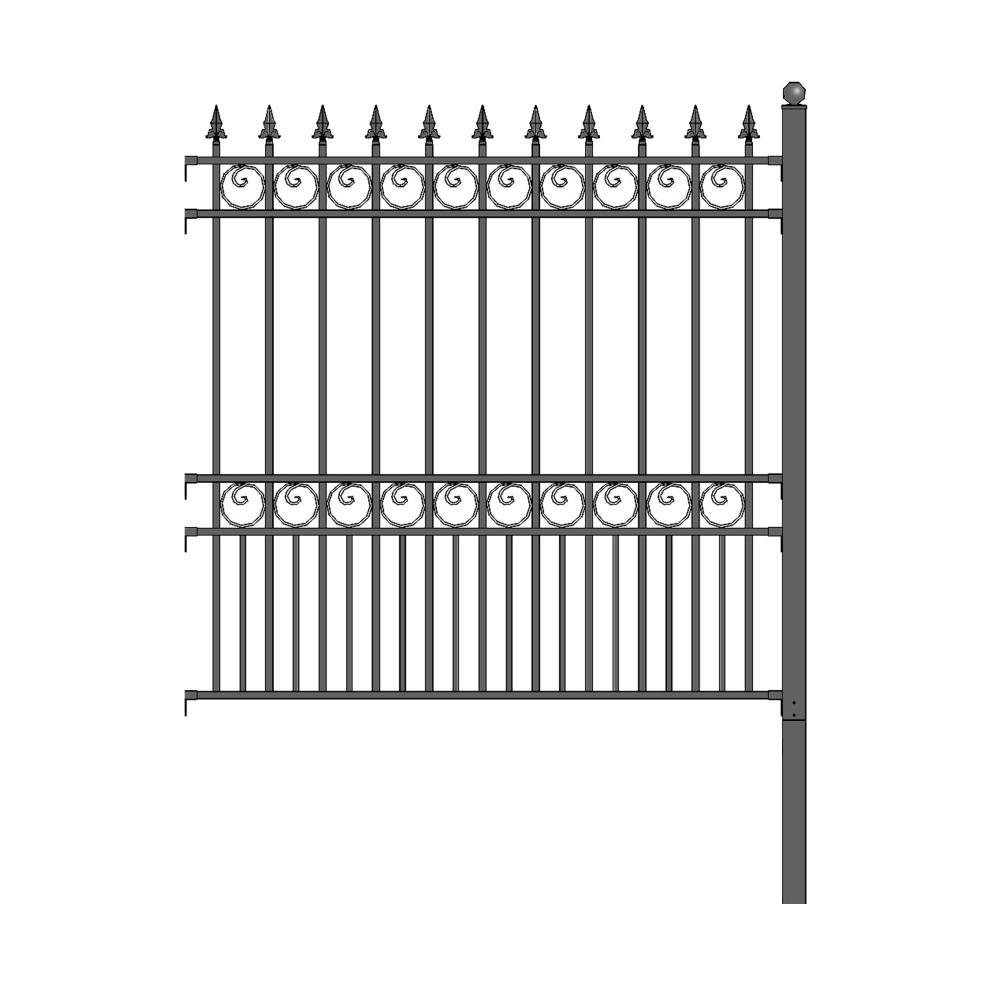 London Style 5 ft. x 5.5 ft. Black DIY Iron Fence Panel