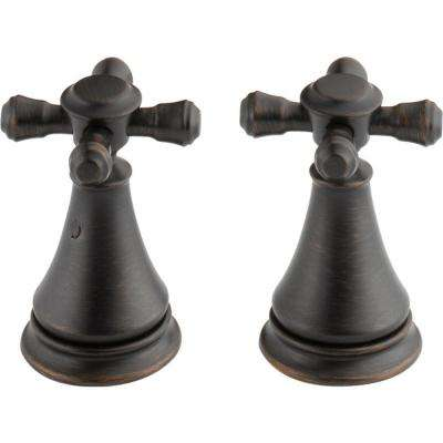 Pair of Cassidy Metal Cross Handles for Bathroom Faucet in Venetian Bronze