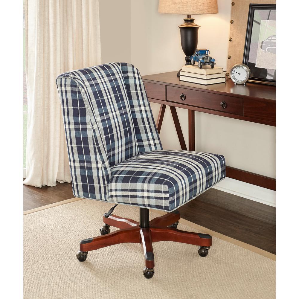 linon home decor draper blue plaid office chair 178404bpld01u the home depot. Black Bedroom Furniture Sets. Home Design Ideas