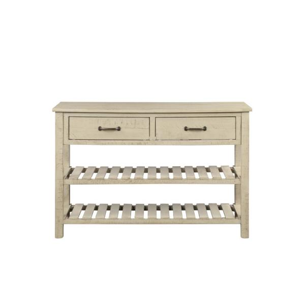 Antique Grey 30.7 in. Retro Entryway Console Table with Drawers and Shelf