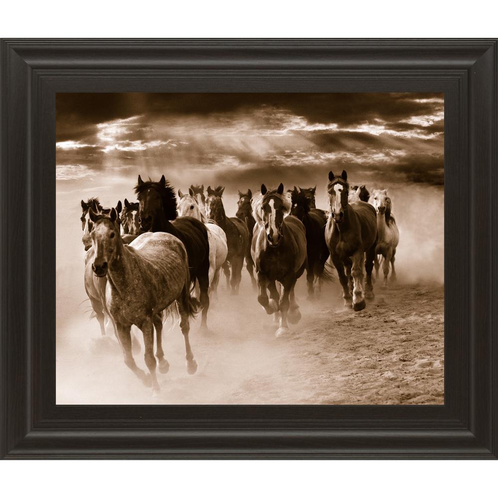 "22 in. x 26 in. ""Running Horses"" by Monte Naglar Framed Printed Wall Art"