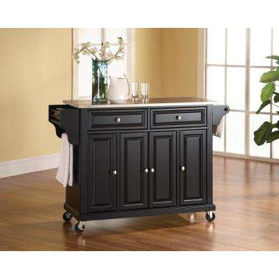 Black Kitchen Cart With Stainless Steel Top