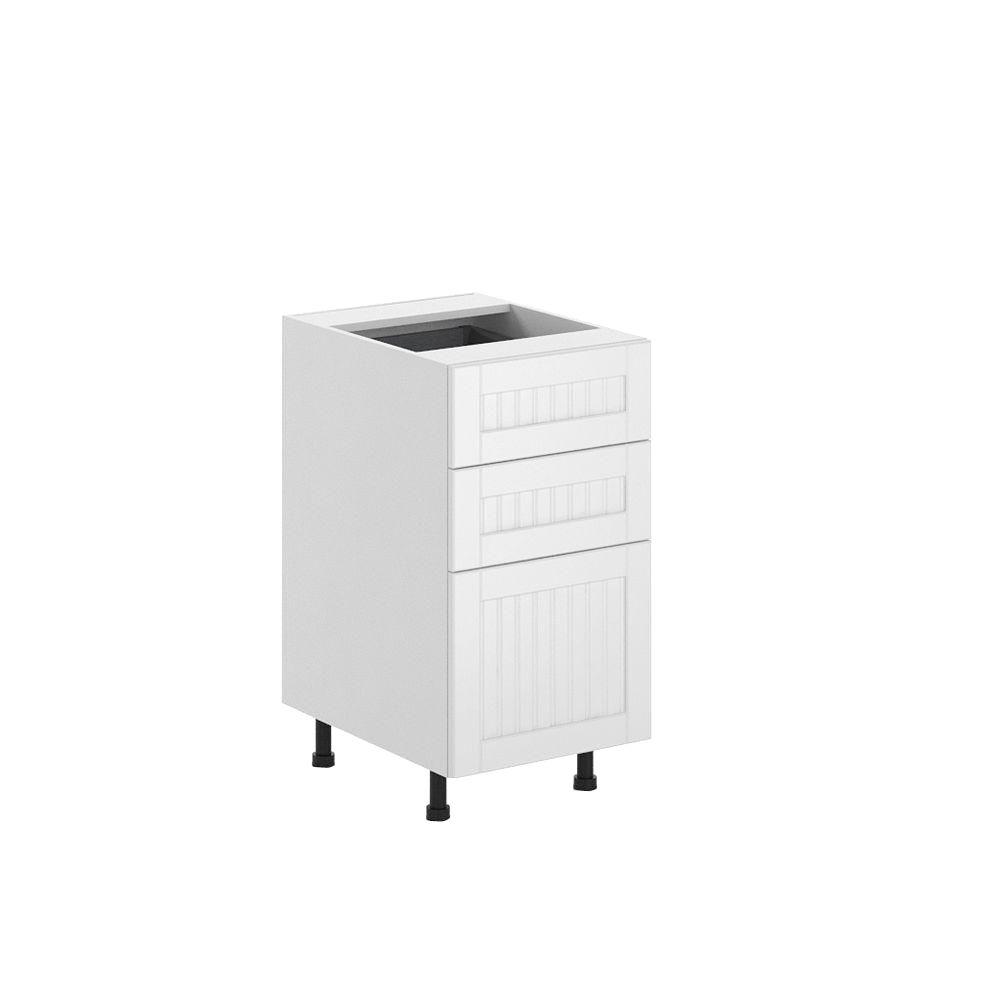 Ready to Assemble 18x34.5x24.5 in. Odessa 3-Drawer Base Cabinet in White