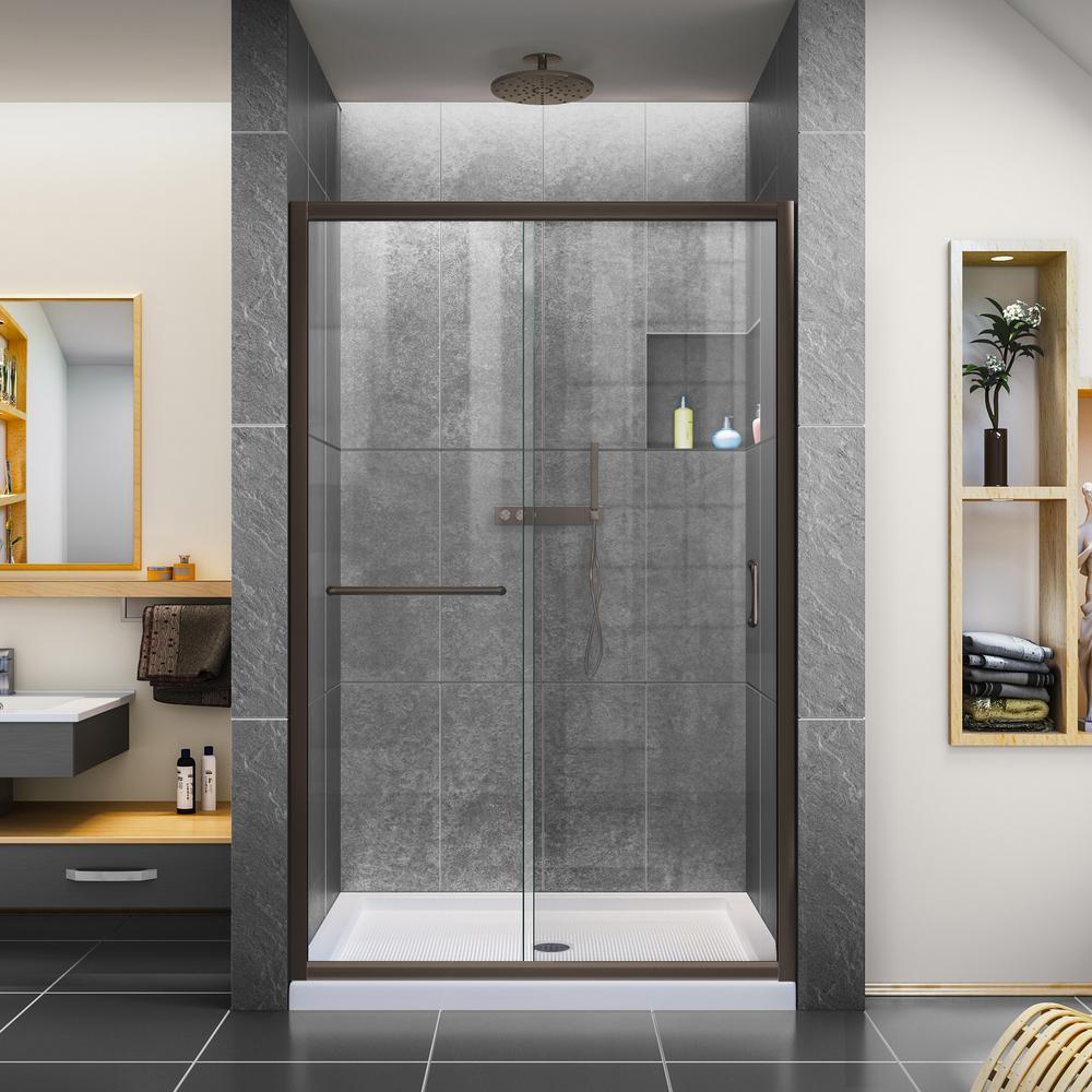 Infinity-Z 44 to 48 in. x 72 in. H Semi-Frameless Sliding Shower Door in Oil Rubbed Bronze