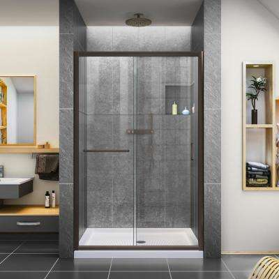 Infinity-Z 48 in. x 74-3/4 in. Framed Sliding Shower Door in Oil Rubbed Bronze with Center Drain Shower Base in Biscuit