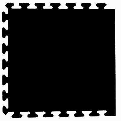 Solid Black 24 in. x 24 in. Finished Side Recycled Rubber Floor Tile (16 sq. ft./ case)