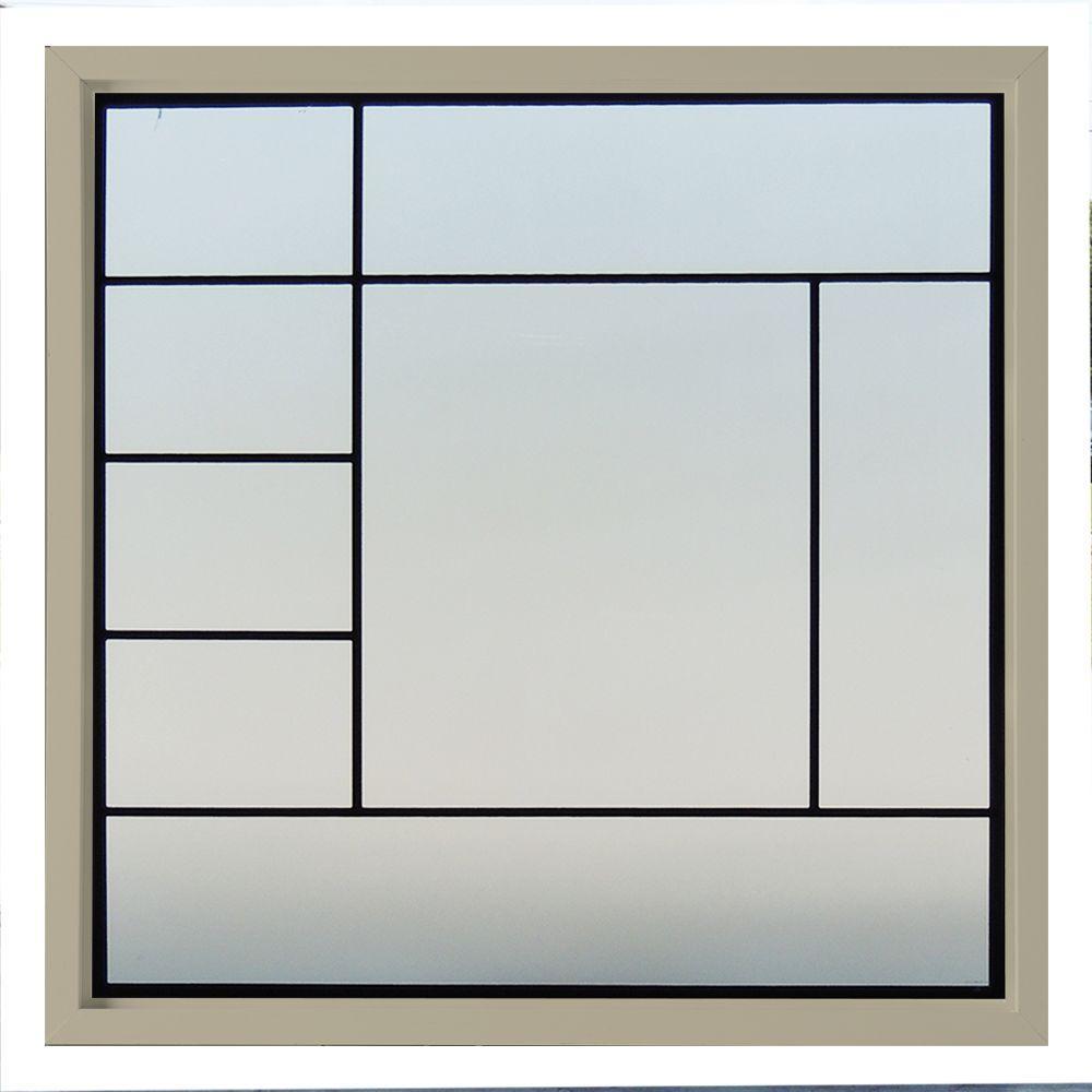 47.5 in. x 47.5 in. Metro Decorative Glass Picture Vinyl Window - Tan