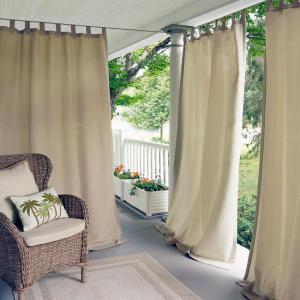 Semi-Opaque Matine Taupe Indoor/Outdoor Window Curtain Panel - 52 inch W x 108...