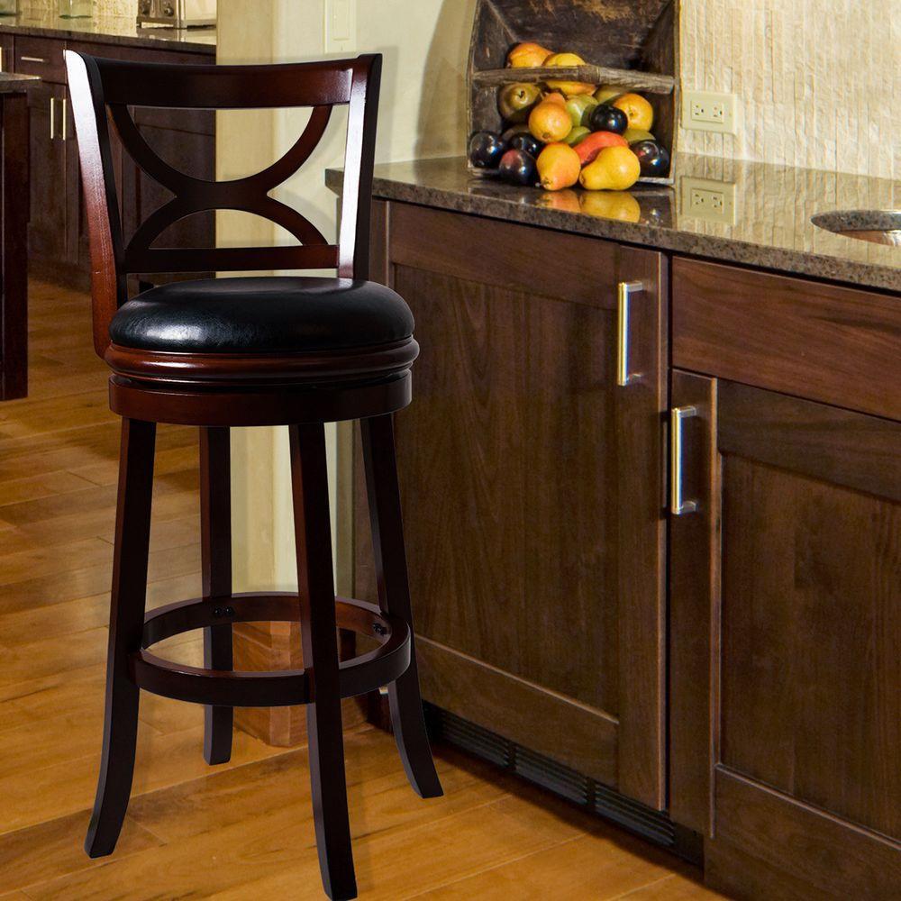 Wooden Revolving Stool Light Brown Swivel Bar Pub Chair: Lavish Home 29 In. Dark Brown Swivel Cushioned Bar Stool