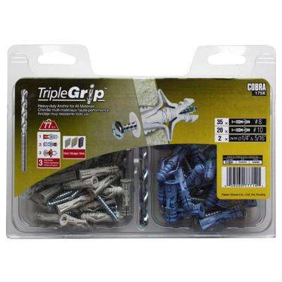 #8 x 1-1/4 in. and #10 x 1-1/2 in. Anchors with Screws (57-Pack)