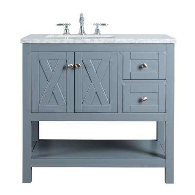 Anabelle 36 in. Grey Single Sink Bathroom Vanity with Marble Vanity Top and White Basin