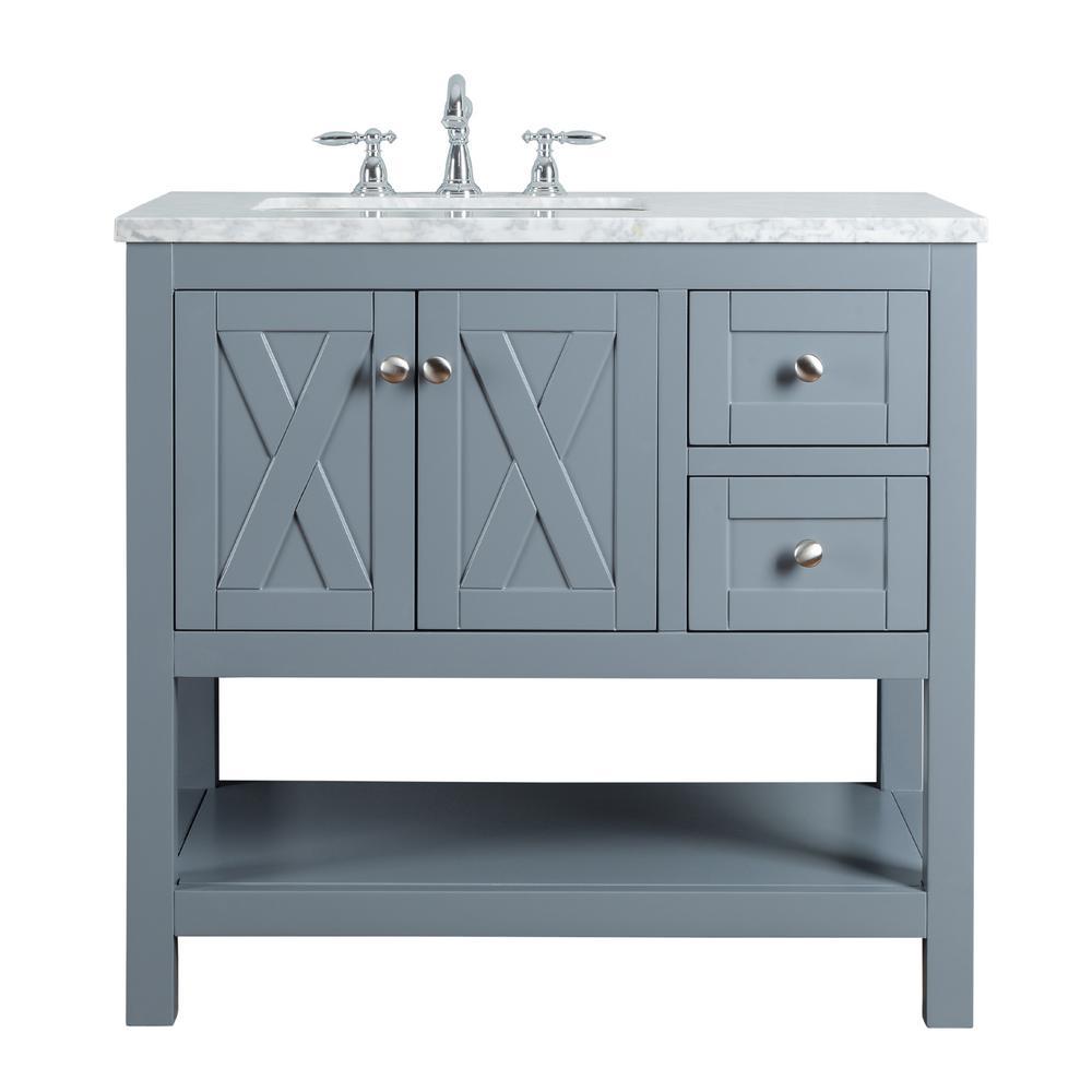 Anabelle 36 in. Grey Single Sink Bathroom Vanity with Marble Vanity Top and White Basin