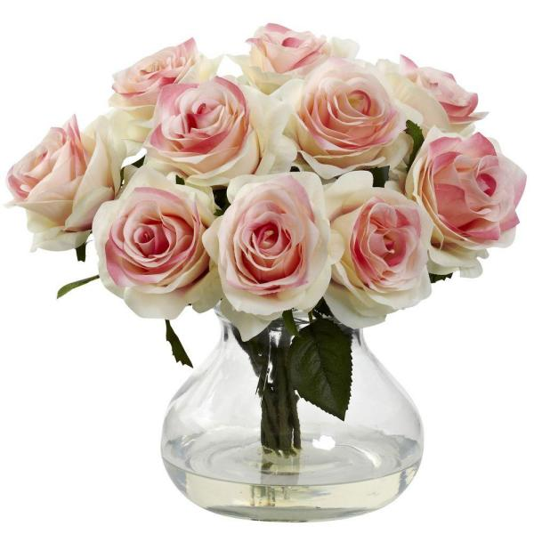 Nearly Natural Rose Arrangement with Vase 1367-LP