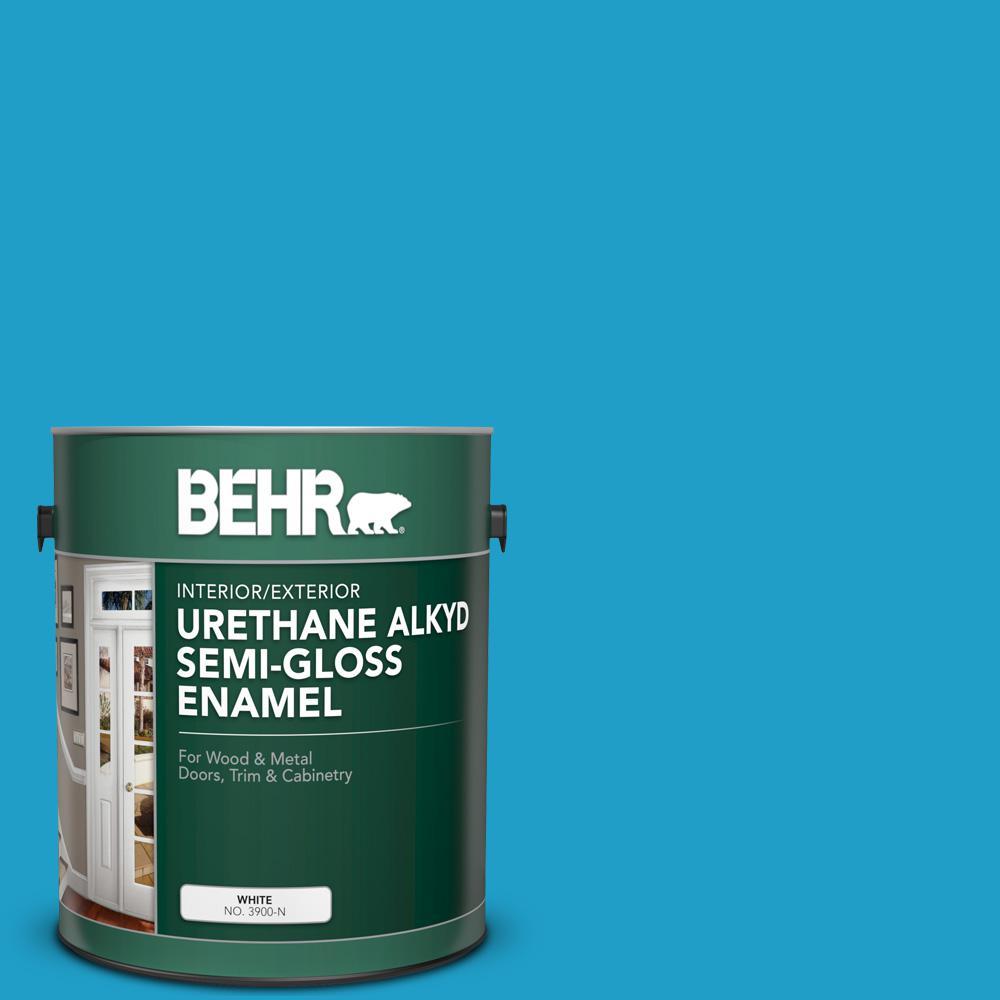 BEHR 1 gal  #P490-5 Yucatan Urethane Alkyd Semi-Gloss Enamel  Interior/Exterior Paint