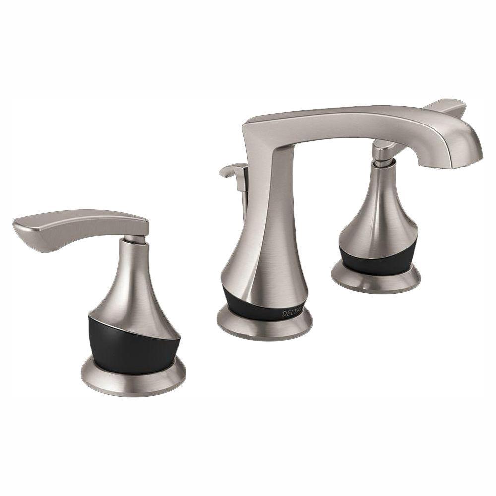 Delta merge 8 in widespread 2 handle bathroom faucet in - Delta bathroom faucets brushed nickel ...