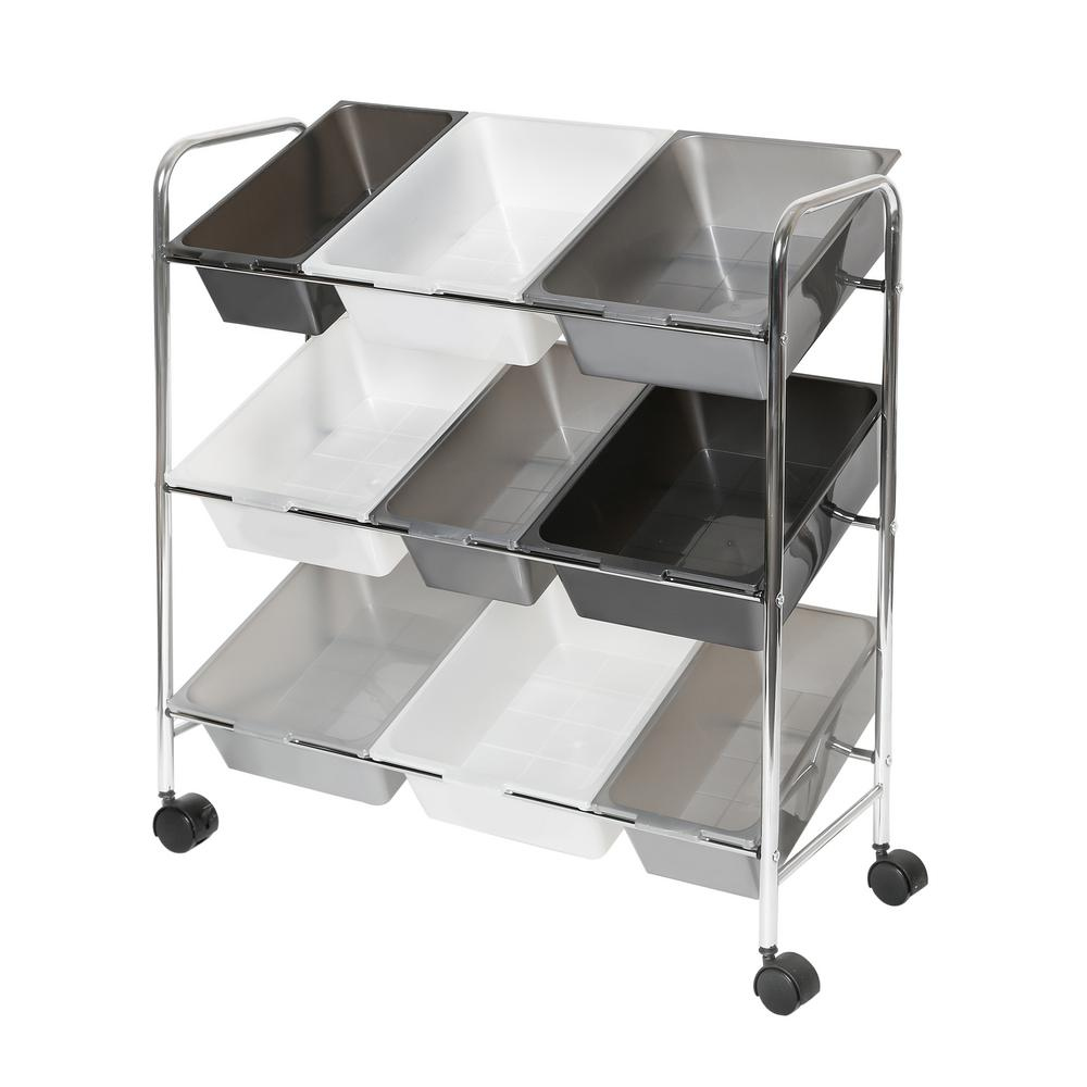 32 in. x 34 in. Grey 9-Compartment Storage Bin Organizer