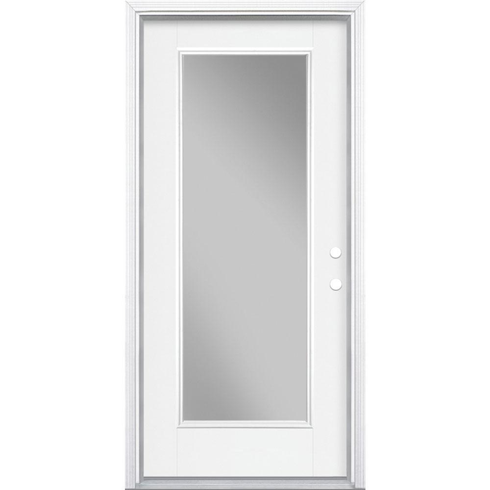36 in. x 80 in. Full Lite Left Hand Inswing Primed White Smooth Fiberglass Prehung Front Door w/ Brickmold, Vinyl Frame