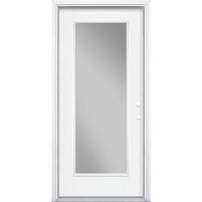 36 in. x 80 in. Full Lite Left Hand Inswing Primed White Smooth Fiberglass Prehung Front Door w/ Brickmold, Vinyl Frame