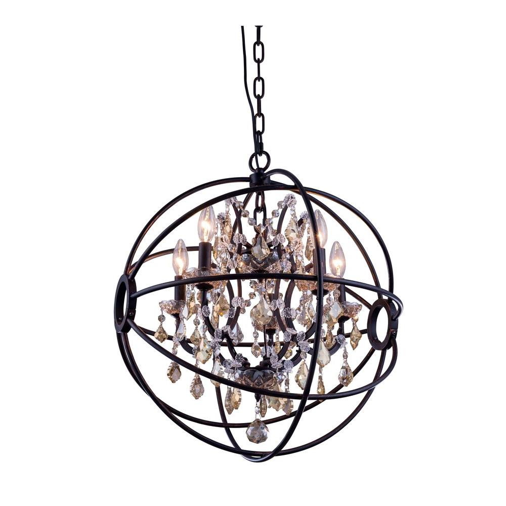 Elegant Lighting Geneva 5 Light Dark Bronze Chandelier