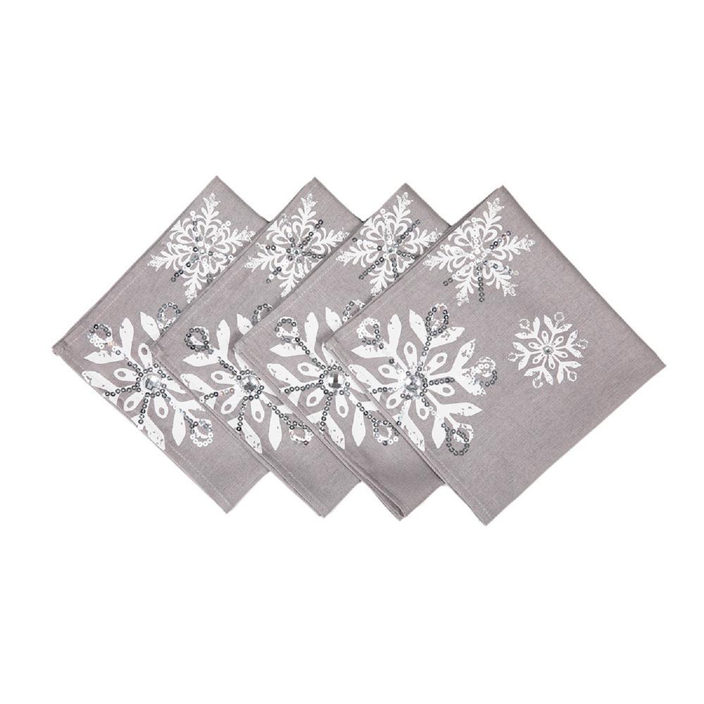 18 in. x 18 in. Glistening Snow Christmas Napkins (4-Set)