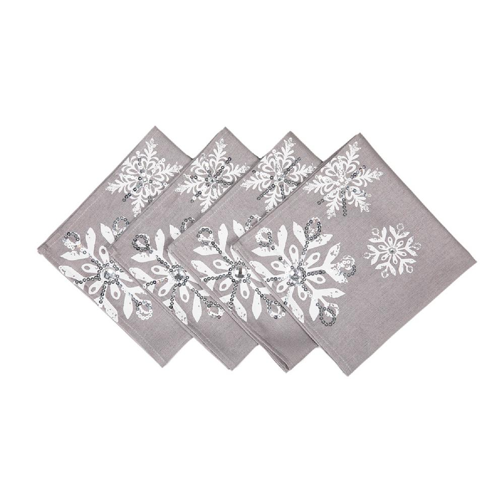 Christmas Napkins.Manor Luxe 18 In X 18 In Glistening Snow Christmas Napkins 4 Set