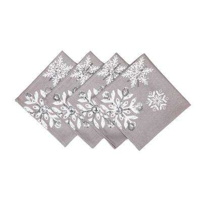 18 in. x 18 in. Glistening Snow Christmas Napkins (4-Set)