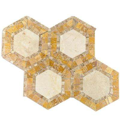 Zeta Crema Marfil Noche 10-3/4 in. x 12-1/4 in. x 10 mm Polished Marble Mosaic Tile