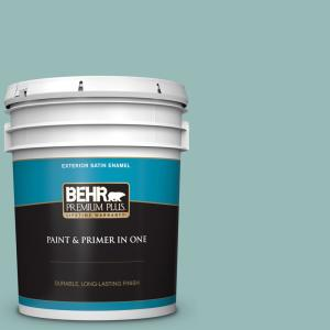 Behr Premium Plus 5 Gal Ppu12 06 Lap Pool Blue Satin Enamel Exterior Paint And Primer In One 940005 The Home Depot